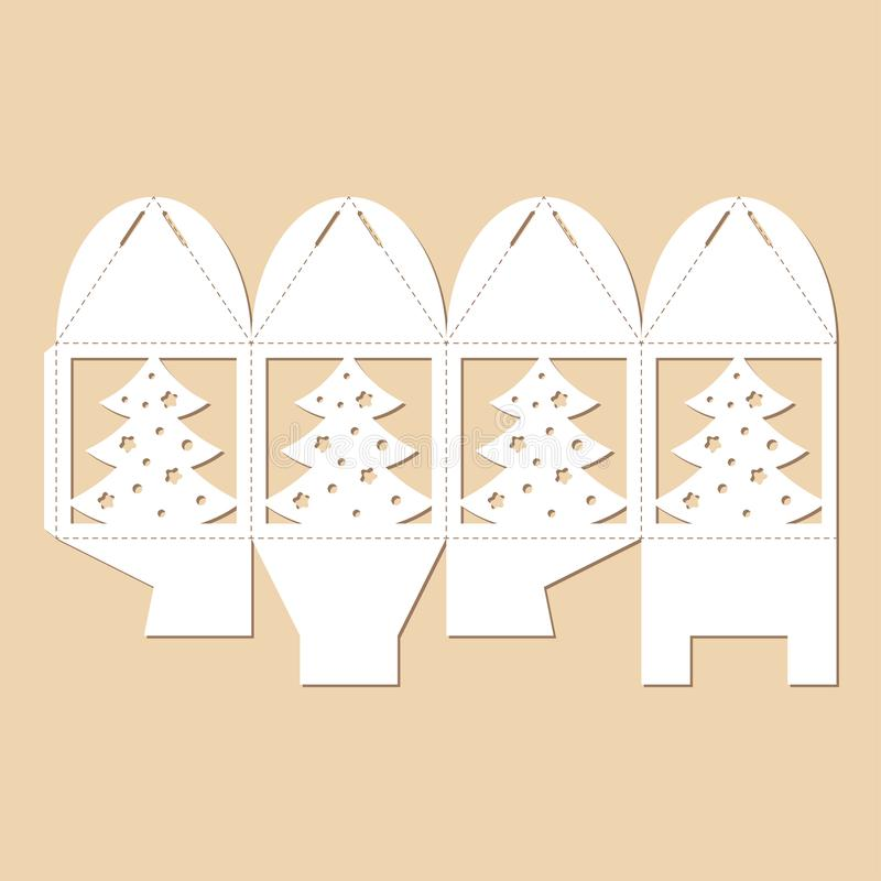 Openwork doos van de kubusgift met Cristmas-boom Blauwdruk van Nieuwjaar ` s bonbonniere vector illustratie