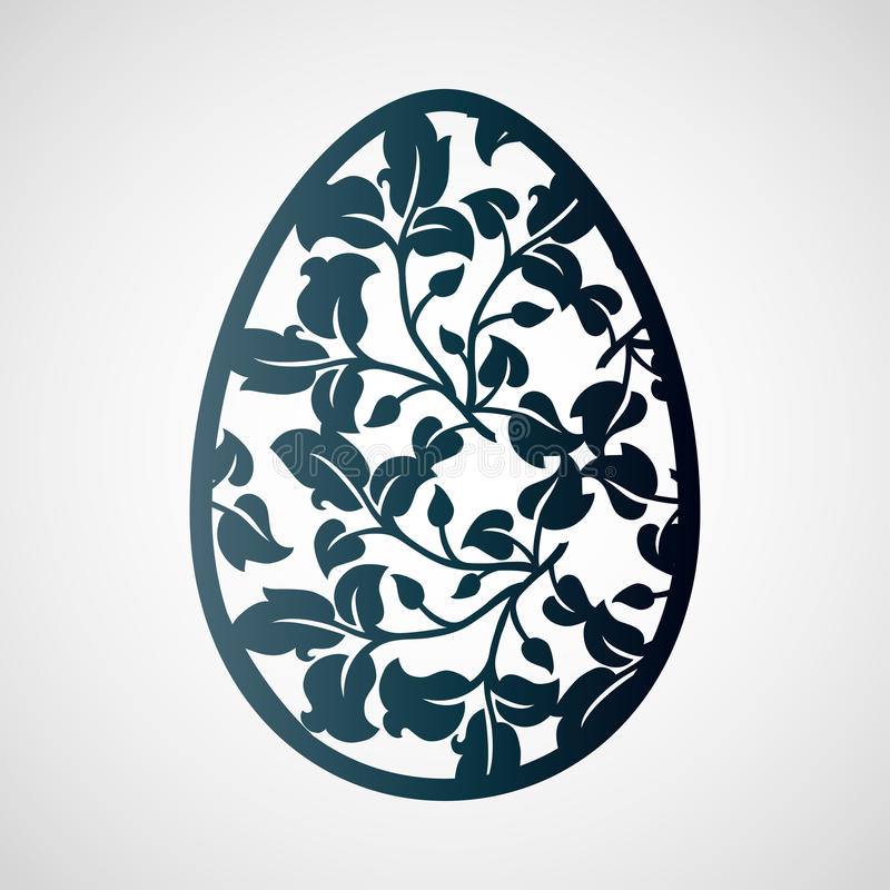 Openwork Easter egg with leaves. Laser cutting template. royalty free illustration