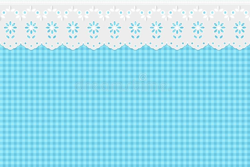 Openwork embroidery on a checkered blue pattern background. vector illustration
