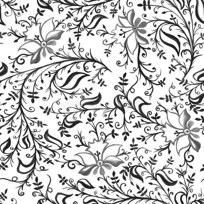 Openwork empfindliche Blumen und Blätter der nahtlosen Musterverzierung mit Locken und Rebgrau vektor abbildung