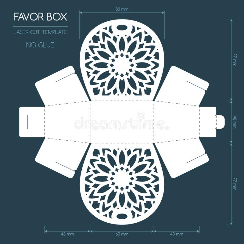 Laser cut favor box stock illustration