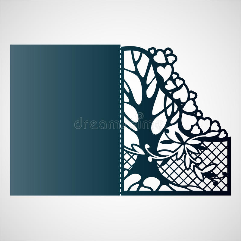 Openwork frame with tree and hearts. stock illustration