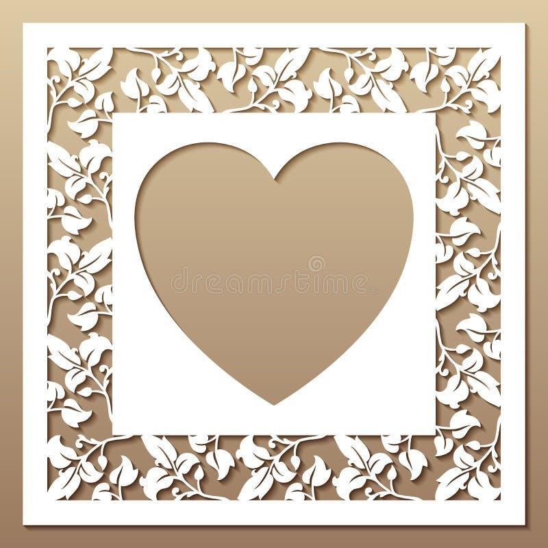 Openwork fyrkantig ram med sidor och hjärta royaltyfria foton