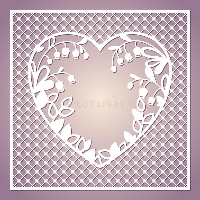 Openwork fyrkantigt kort med hjärta och liljekonvaljer laser royaltyfri illustrationer