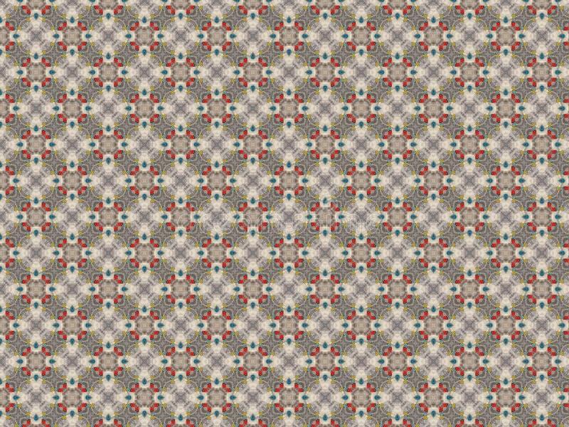 Openwork gebreide achtergrond van knopen in grijze rood en blauw en geel van gevoeld en vacht en blauw en wit vector illustratie