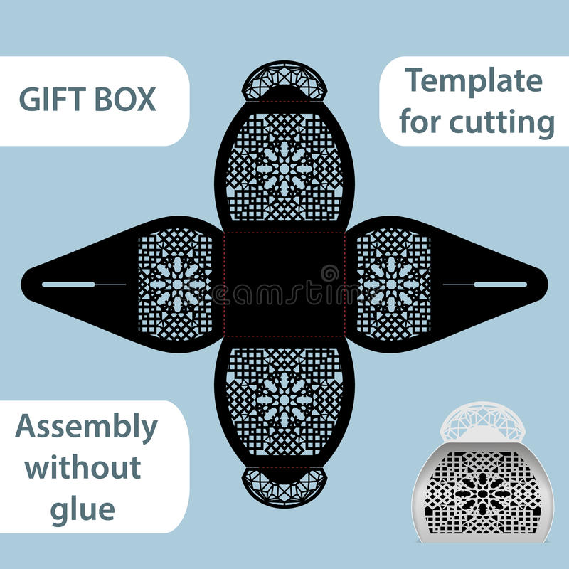 Free Openwork Gift Paper Box With A Handle, Lace Pattern, Assembly Without Glue, Cut Out Template, Packaging For Retail, Greeting Royalty Free Stock Photos - 78103208