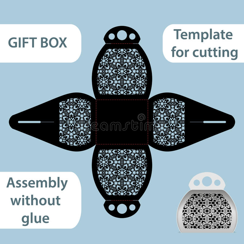 Free Openwork Gift Paper Box With A Handle, Lace Pattern, Assembly Without Glue, Cut Out Template, Packaging For Retail, Greeting Stock Photos - 79791273