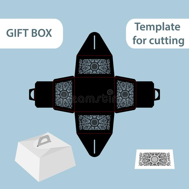 Openwork giftdocument vakje met een handvat, kantpatroon, assemblage zonder lijm, verwijderde malplaatje, die voor kleinhandels,  vector illustratie