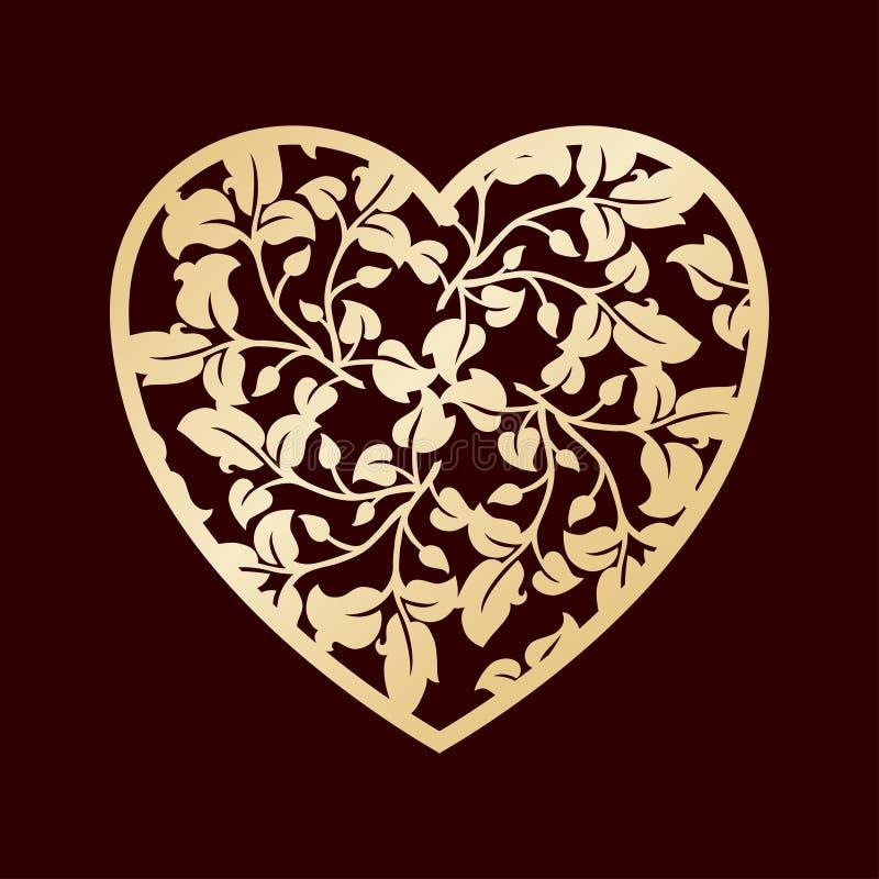 Openwork goldenes Herz mit Blättern Vektordekoratives Element Laser-Ausschnitt oder vereitelnde Schablone stock abbildung
