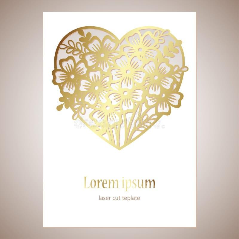 Openwork goldenes Herz mit Blumen Vektordekoratives Element vektor abbildung