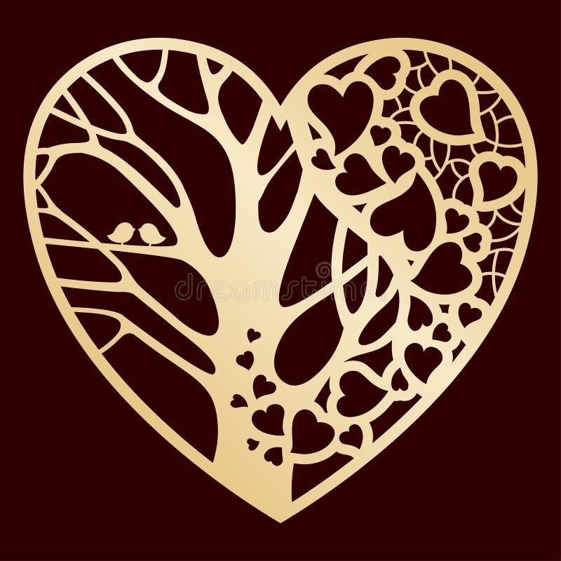 Openwork goldenes Herz mit einem Baum nach innen Laser-Ausschnitt oder vereitelnde Schablone stock abbildung