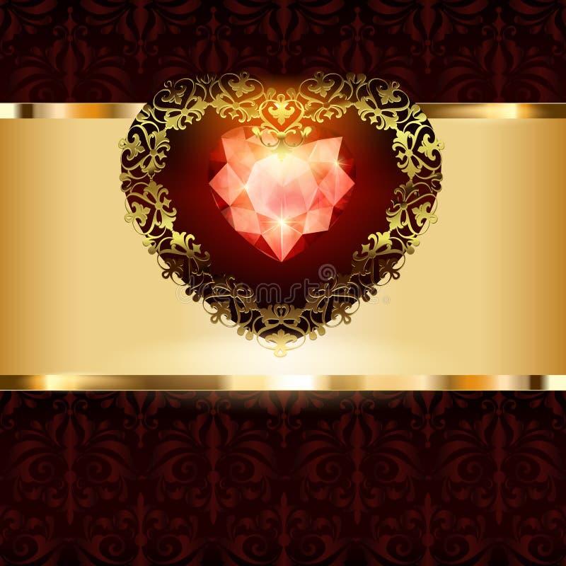 Openwork gouden hartendecor met een ornament op een art deco bloemenachtergrond vector illustratie