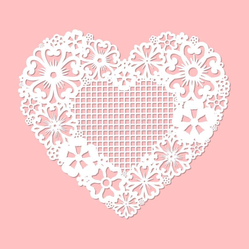 Openwork hart van bloemen wordt gemaakt die Programmeerbare lasersnijder vector illustratie