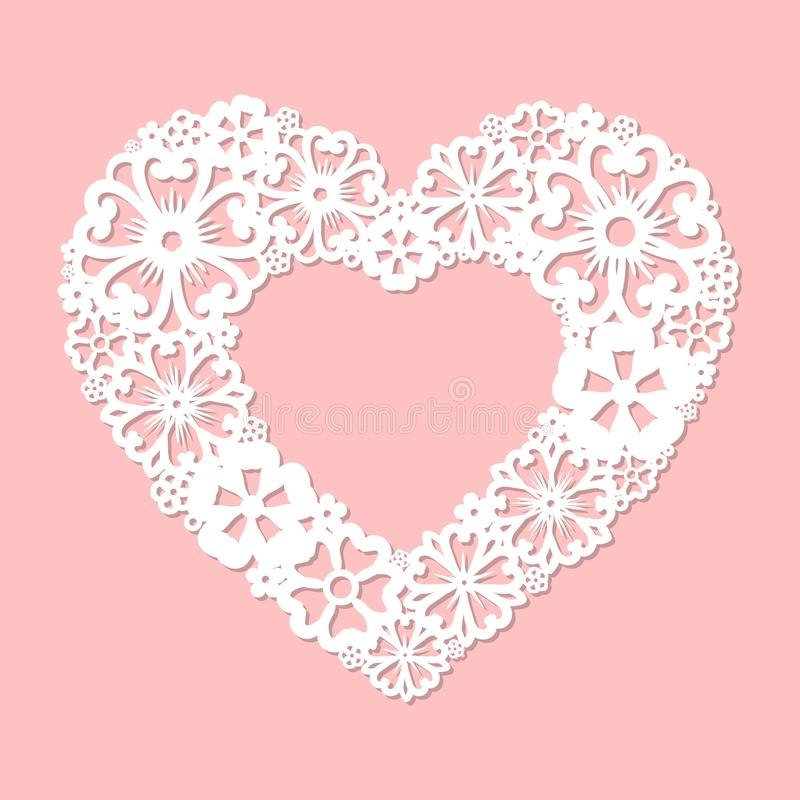 Openwork hart van bloemen wordt gemaakt die Programmeerbare lasersnijder royalty-vrije illustratie