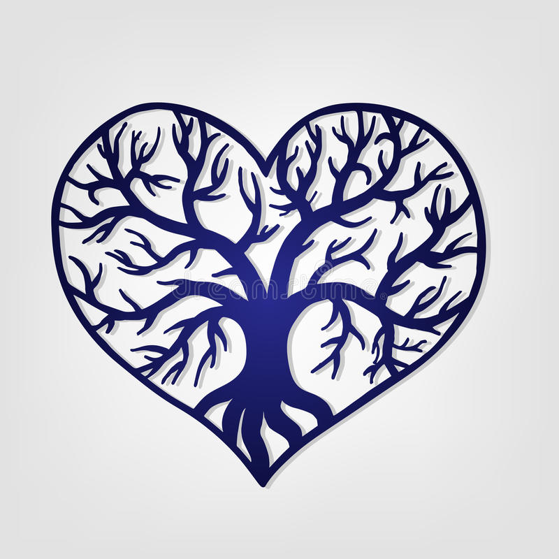 Openwork heart with a tree inside. Laser cutting template stock illustration