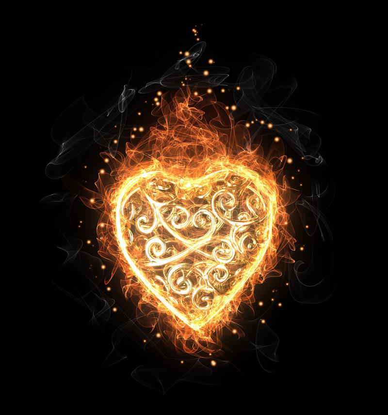 Openwork Herz des goldenen Feuers lizenzfreie abbildung