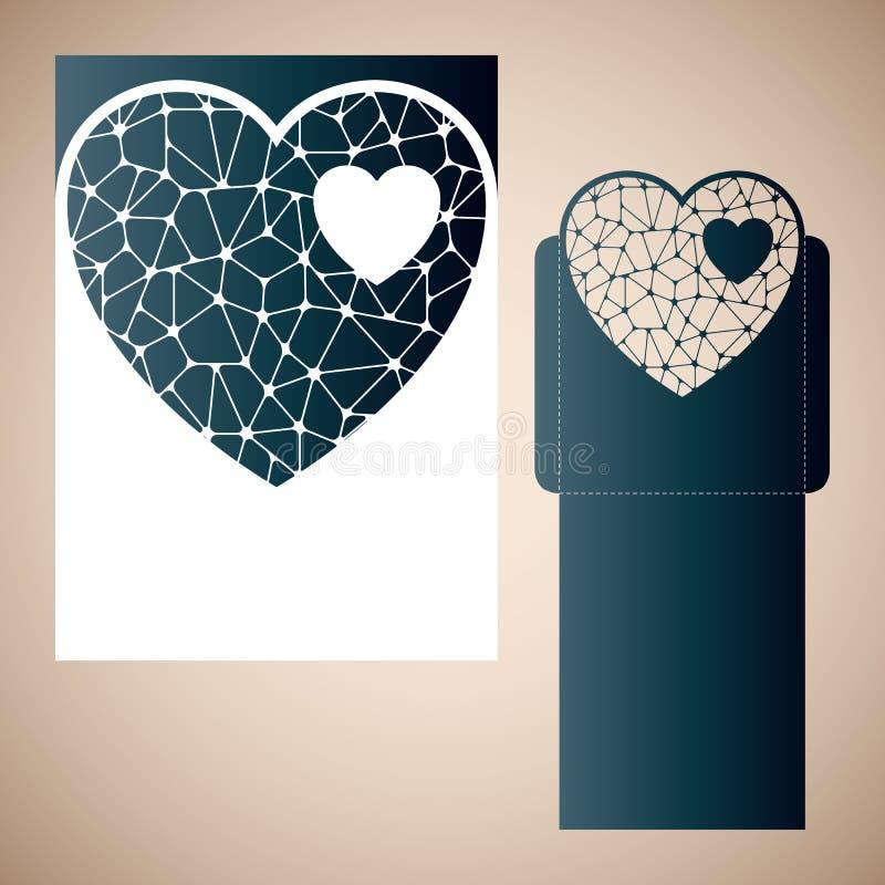 Openwork hjärta med floret vektor illustrationer