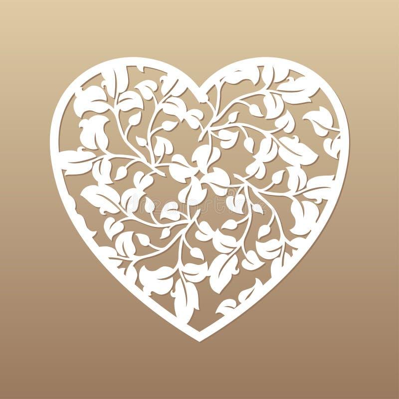Openwork hjärta med sidor låter vara dekorativ elementgreen för bakgrund lianaen över vektorwhite Laser-snitt stock illustrationer