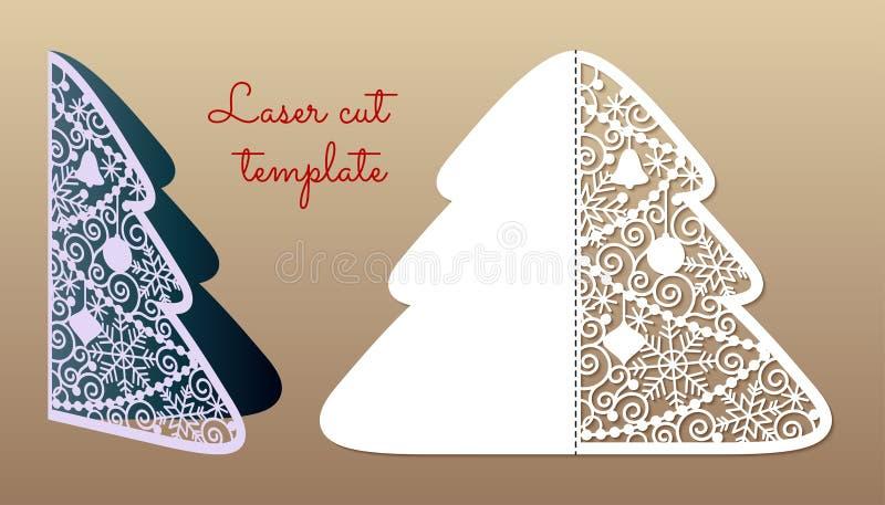 Openwork Kerstboom Laser scherp malplaatje stock illustratie