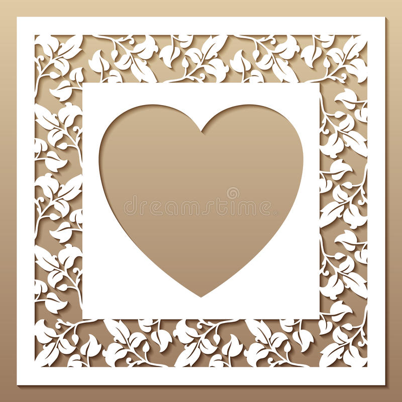 Openwork kwadrat rama z liśćmi i sercem ilustracji