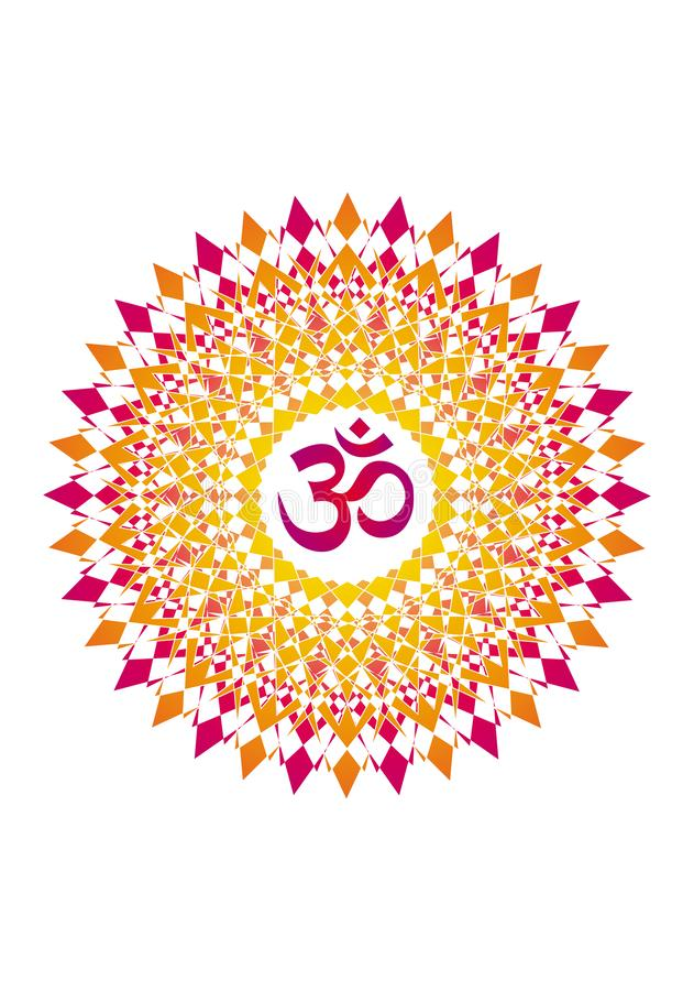 Openwork mandala, elegant circular ornament with the Om / Aum / Ohm sign in the middle. Red and orange drawing on a white background. Spiritual and sacred stock illustration