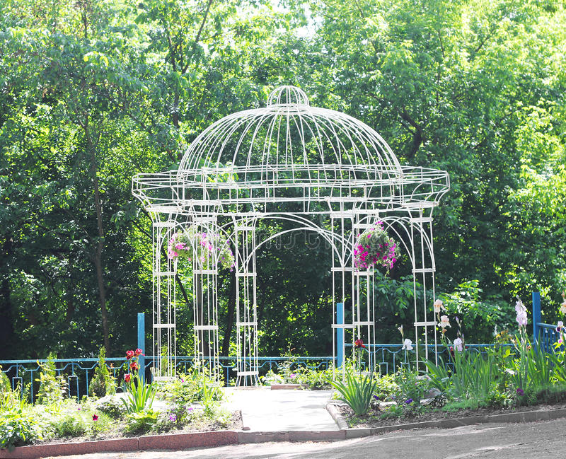 Download Openwork Metal Arbor In The Garden Stock Photo   Image: 42272082