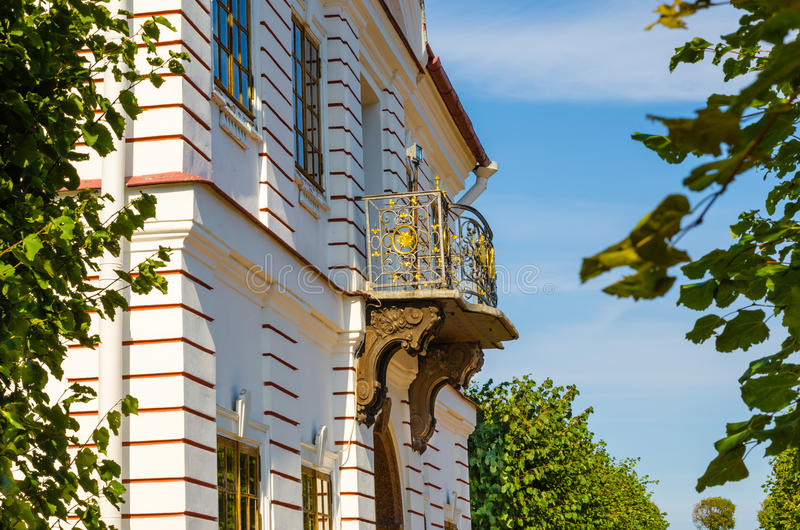 Openwork metal balconies of the Palace of Marly stock photography