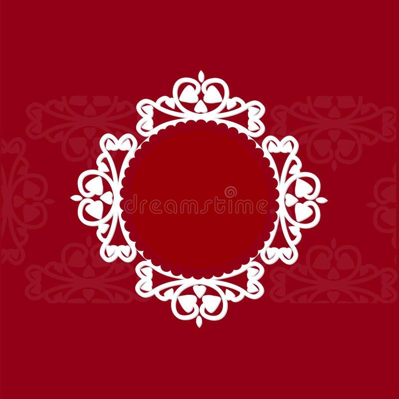 Openwork rund ram på en röd bakgrund 3D royaltyfri bild