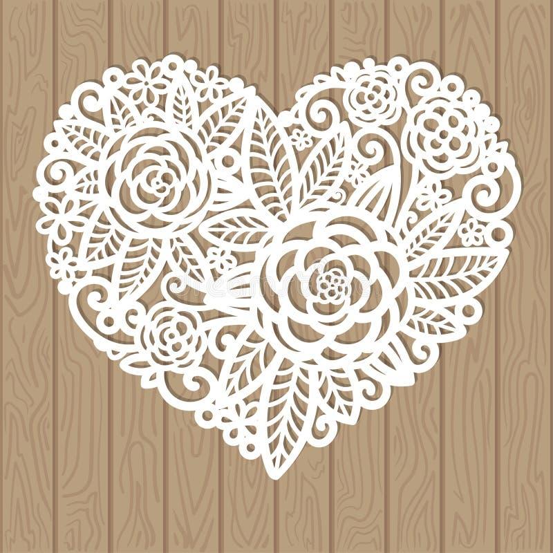 Openwork serce z kwiatami tła dekoracyjna elementu zieleń opuszczać liany nad wektorowym biel ilustracja wektor