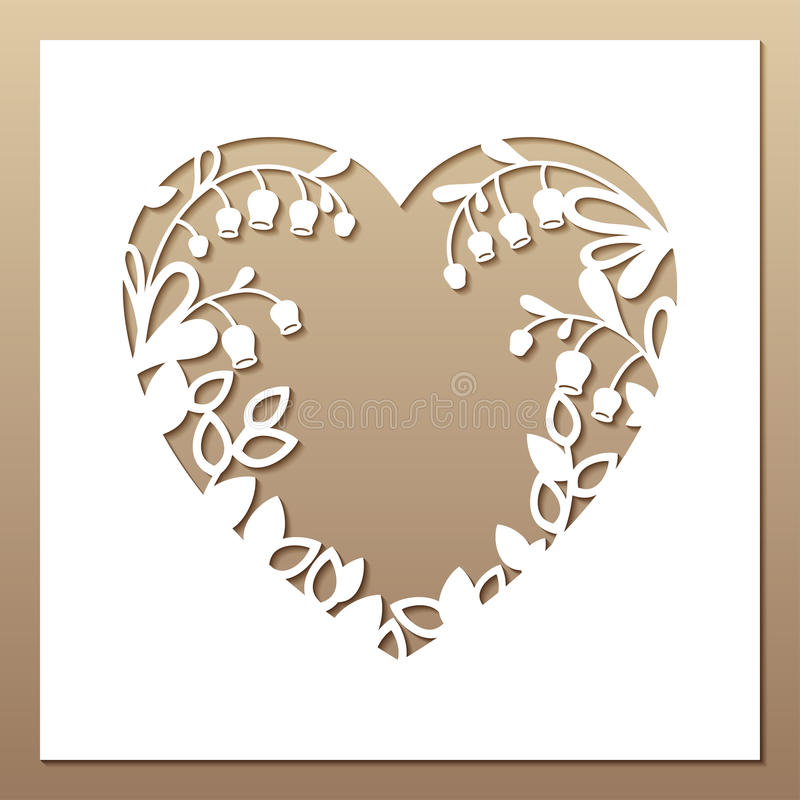 Openwork square card with heart and lilies of the valley. Laser stock photography