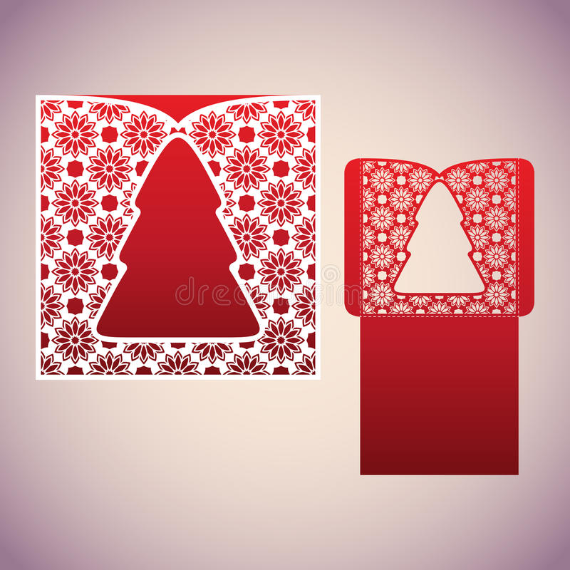 Openwork square envelope with a Christmas tree. royalty free illustration