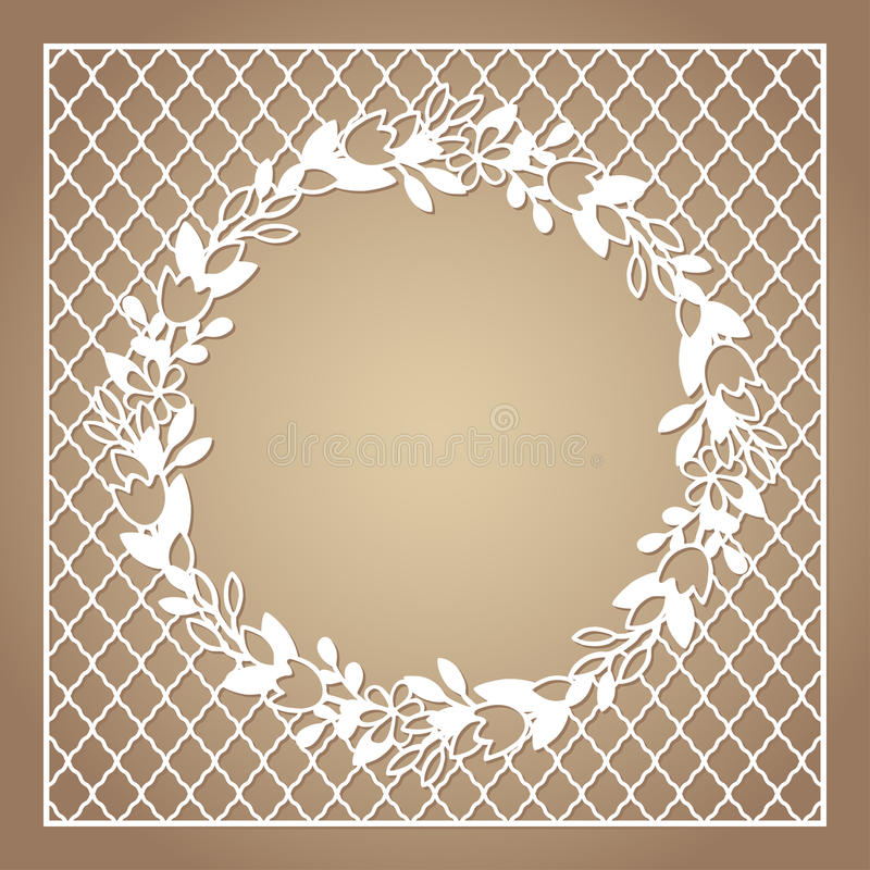 Openwork square frame with wreath of flowers. Laser cutting template vector illustration