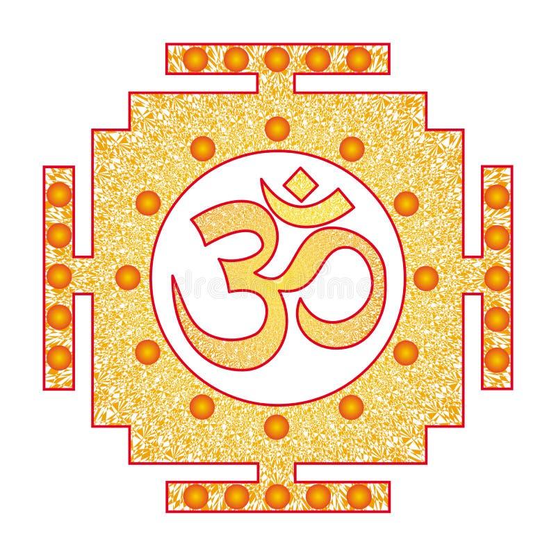 Openwork square tibetan mandala with Aum / Ohm / Om sign in the center. Vector . Openwork square tibetan mandala with Aum / Ohm / Om sign in the center vector illustration