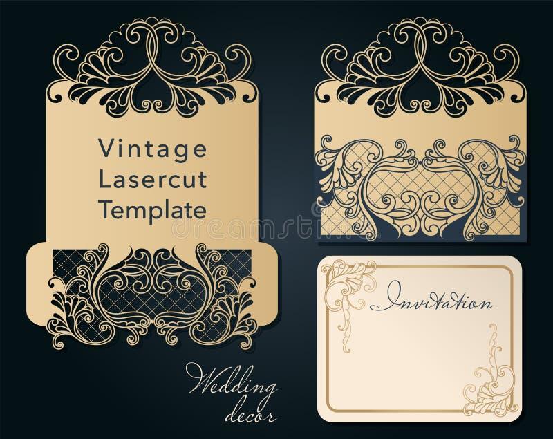 Openwork template for laser cutting. Swirly decorative wedding invitation envelope. royalty free illustration