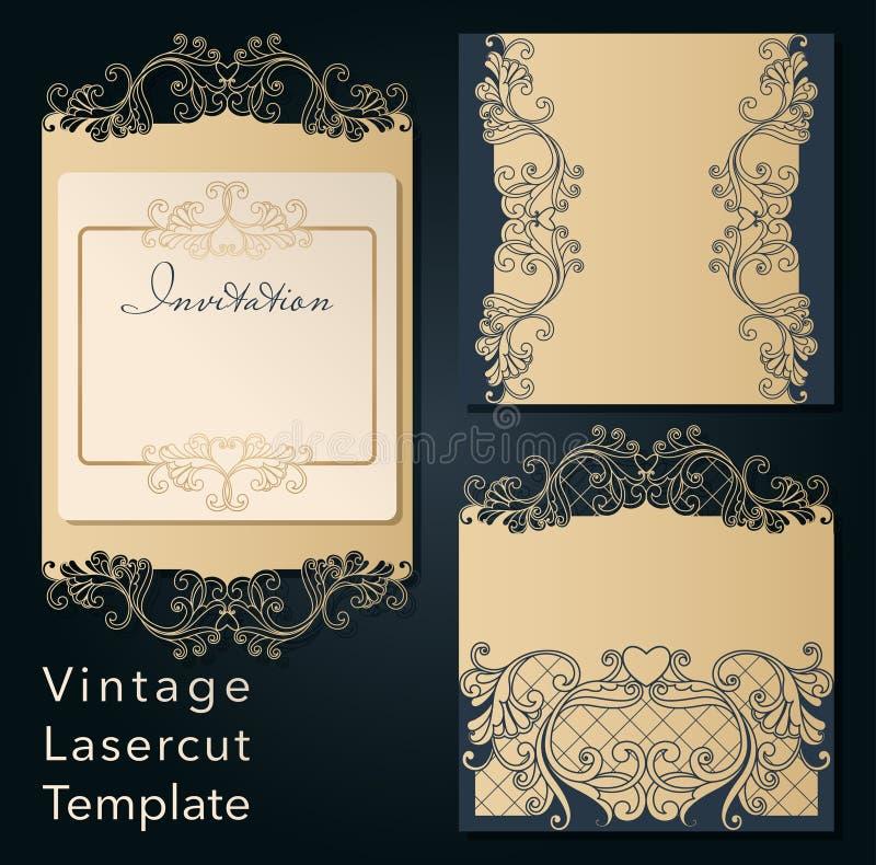 Openwork template for laser cutting. Swirly decorative wedding invitation envelope. stock illustration