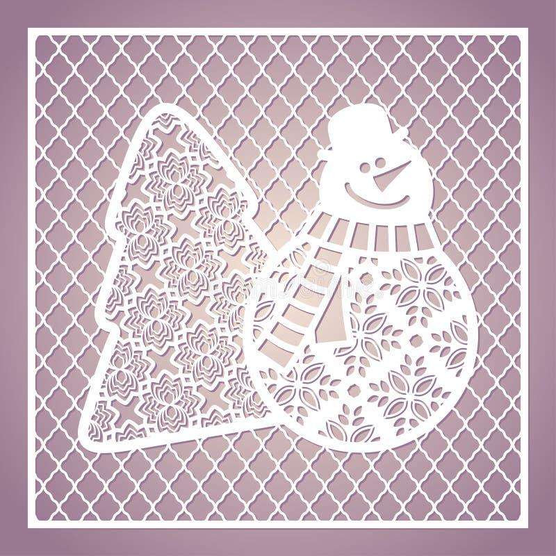 Openwork vierkante kaart met leuke sneeuwman en Kerstboom laser vector illustratie