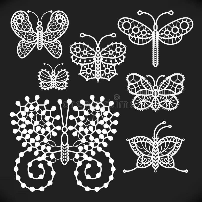 Openwork vita fjärilar vektor illustrationer