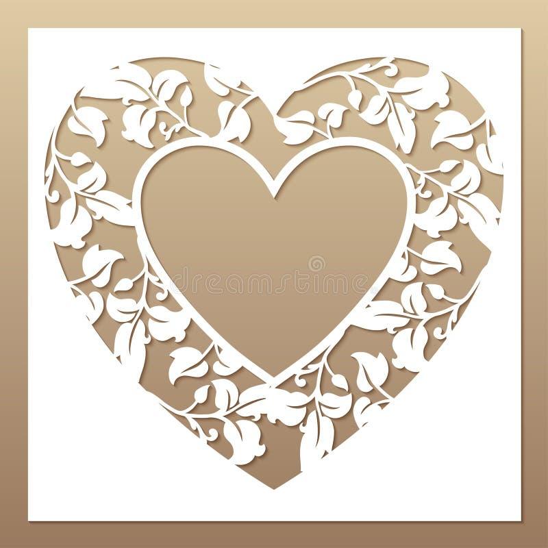 Openwork wit kader met hart en bladeren stock illustratie