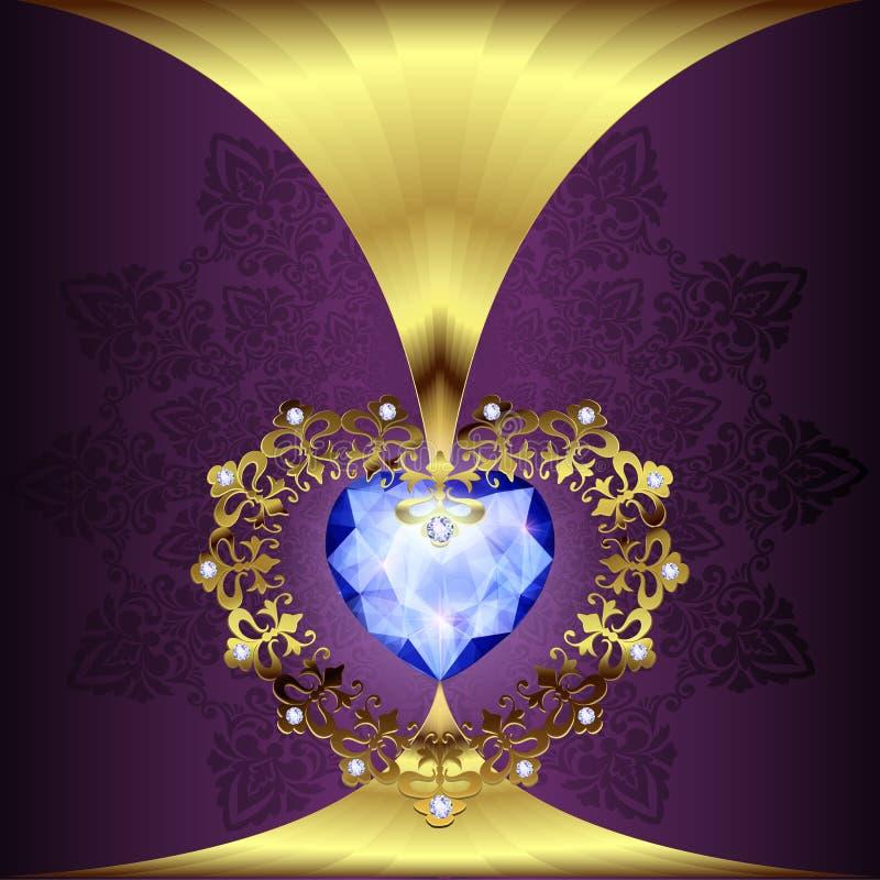 Openwork złocisty serce wystrój z ornamentem na art deco kwiecistym tle ilustracja wektor