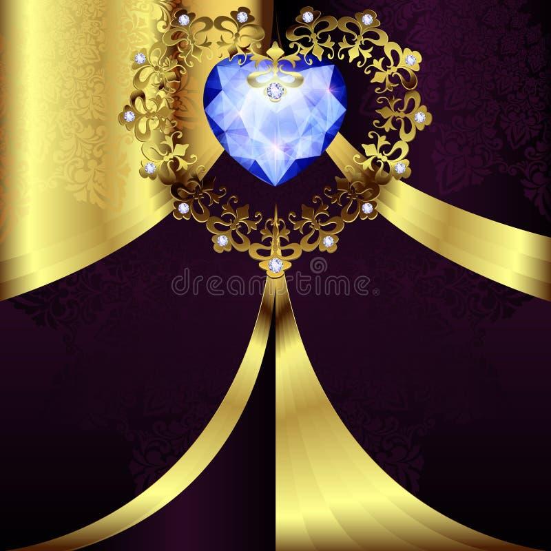 Openwork złocisty serce wystrój z ornamentem na art deco kwiecistym tle royalty ilustracja