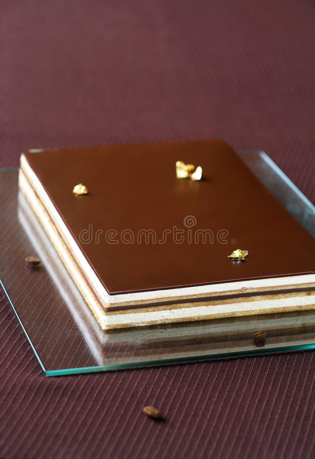 ` Oper ` Schokoladen-Kaffee-Kuchen lizenzfreies stockfoto