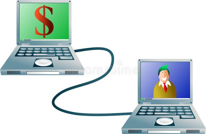 Operação bancária do computador ilustração stock