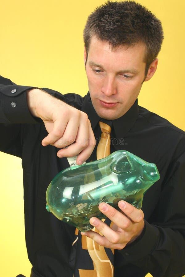 Operação bancária do homem de negócio fotografia de stock