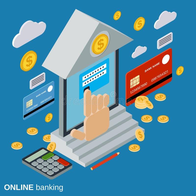 Operação bancária em linha, banco móvel, conceito do vetor de transferência de dinheiro ilustração do vetor