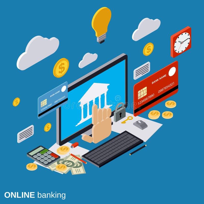 Operação bancária em linha, pagamento, conceito do vetor de transferência de dinheiro ilustração royalty free