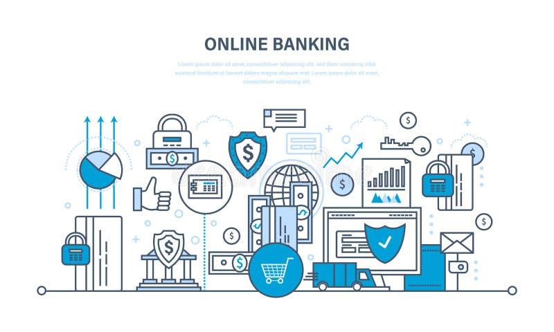 Operação bancária em linha, pagamentos garantidos da segurança, transações, investimentos, depósitos, tecnologia da informação ilustração do vetor