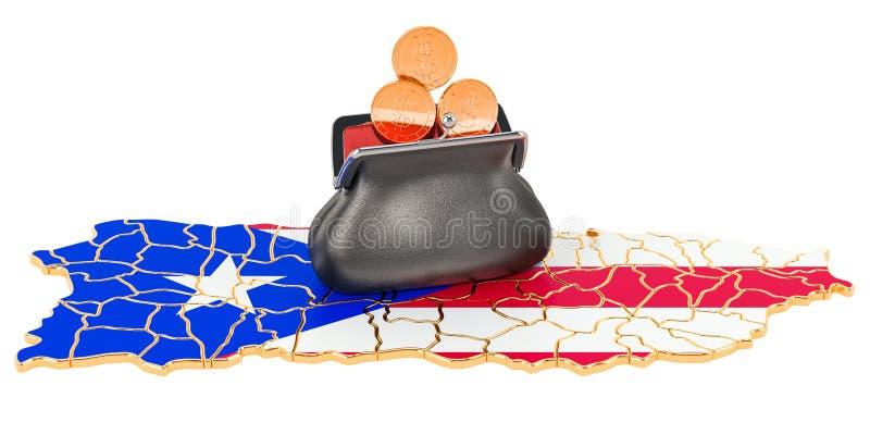 Operação bancária, investimento ou conceito financeiro em Porto Rico rendi??o 3d ilustração do vetor