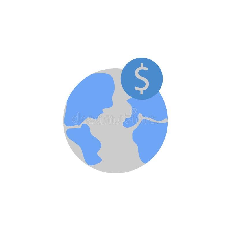 Operação bancária, moeda, international, mundo, ícone azul do dinheiro e cinzento de duas cores ilustração do vetor
