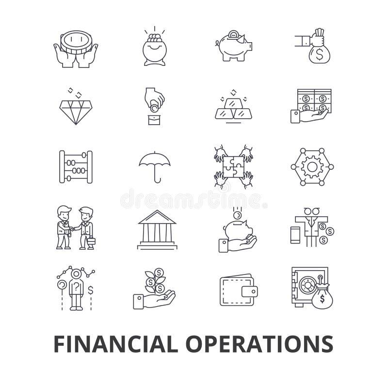 Operações financeiras, finança, planeamento, serviços, dinheiro, contabilidade, linha ícones do investimento Cursos editáveis lis ilustração do vetor