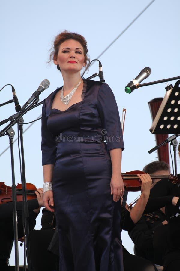 Opera actress and singer Alina Shakirova ( Russia ), mezzo soprano, on the open stage royalty free stock photos